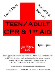 Teen/Adult CPR & 1st Aid @ Buena Vista Public Library | Buena Vista | Colorado | United States