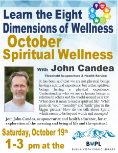 Spiritual Wellness is October's Eight Dimensions of Wellness! @ Buena Vista Public Library | Buena Vista | Colorado | United States