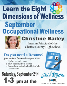 Resume building is September's Eight Dimensions of Wellness! @ Buena Vista Public Library | Buena Vista | Colorado | United States